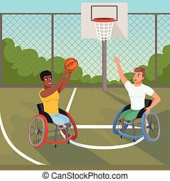 Sportsmen on wheelchairs playing with ball. Sports basketball court. Athletes with physical disabilities. Active lifestyle. Bushes, sky and fence on background. Flat vector