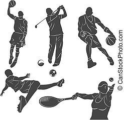 Sportsmen - Set of monochrome silhouettes of of sportsmen in...
