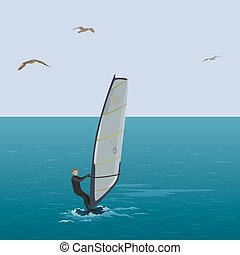 Sportsmen surfer sail in the blue sea