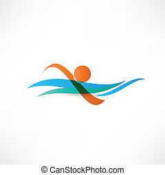sportsmen swimming icon
