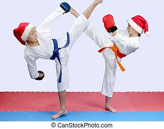 Sportsmens are beating kicks