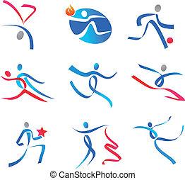 sportsmens, gens, danse, icônes