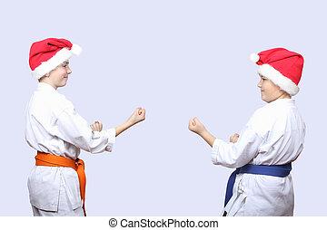 Sportsmens standing in rack karate