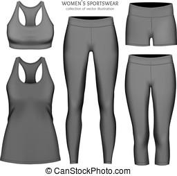 sportswear., ベクトル, 女性