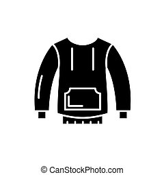 Sportswear black icon, vector sign on isolated background. Sportswear concept symbol, illustration