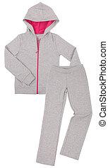 sportswear., graue , weißes, freigestellt, hintergrund.