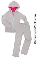 sportswear., grijs, witte , vrijstaand, achtergrond.