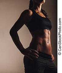 sportswear, mulher, posar, jovem, muscular