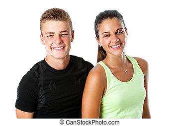 sportswear., paar, jugendlich, reizend