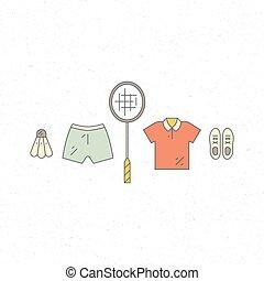 Sportswear - Vector line set of badminton uniform. Sport...