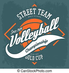 T-shirt label with ball and arrows for volleyball sport game. Sportswear athletic clothing for street or university, college team, cloth branding or advertising. Amateur sport league ads, competition
