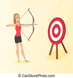 Sportswoman aiming with a bow and arrow at target.