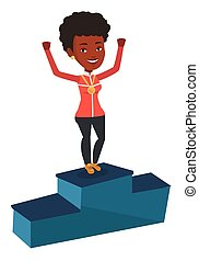 Sportswoman celebrating on the winners podium. - Young...