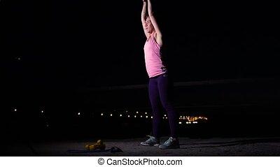 Sportswoman Doing Kettlebell Swings Outdoors - Sportswoman...