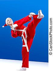 Sportswoman dressed as Santa Claus