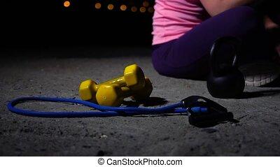Sportswoman Having a Break After Workout