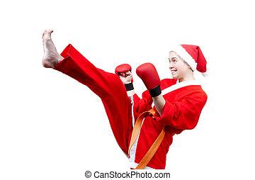 sportswoman in clothes as Santa