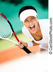 sportswoman, tênis, tocando, sportswear