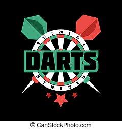 sportszerű, jelkép, label., darts, jel, jelvény