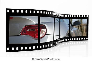 sportwagen, film- streifen