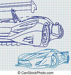 Blaupause, auto, skizze, sport.