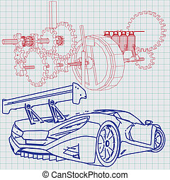 Blaupause, auto, skizze, sport Clipart Vektor - Suche Illustration ...
