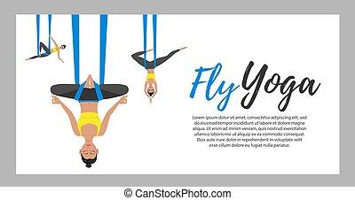 sportwear, mosca, yoga, llevando, niña, hermoso