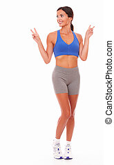 Sporty adult woman cheerful and excited