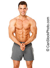 Sporty and healthy muscular man isolated on white