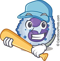 Sporty basophil cell cartoon character design with baseball...