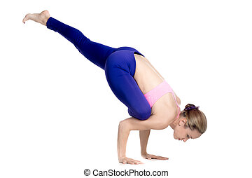 eka pada rajakapotasana yoga pose fitness girl on white