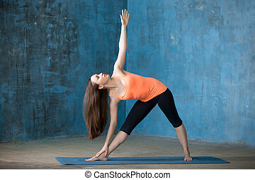 Sporty beautiful young woman doing Trikonasana