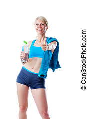 Sporty blonde woman after fitness workout showing thumb up and holding a water bottle