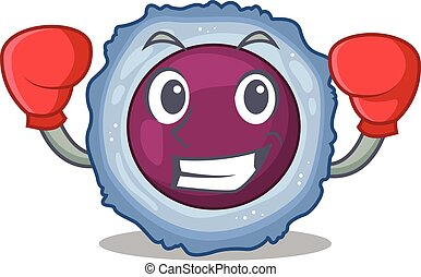 Sporty Boxing lymphocyte cell mascot character style. Vector...
