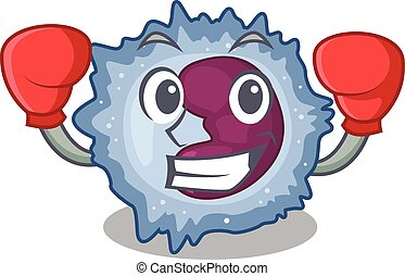 Sporty Boxing monocyte cell mascot character style. Vector ...