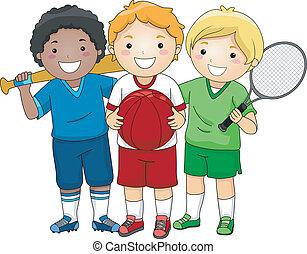 Sporty Boys - Illustration Featuring Little Boys Wearing...