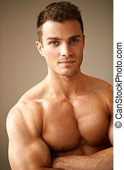 sporty, braços, muscular, cima, cruzado, fim, homem