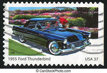 Sporty Car - UNITED STATES - CIRCA 2005: stamp printed by...