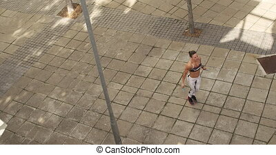 Sporty Caucasian woman exercising outdoor - A sporty ...