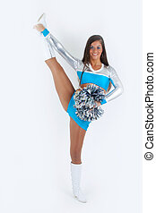 Sporty cheerleader with pom-poms. - Athletic cheerleader...