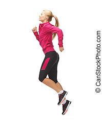 sporty, corrida mulher, ou, pular