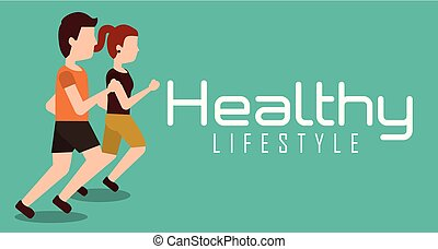 sporty couple jogging healthy lifestyle banner