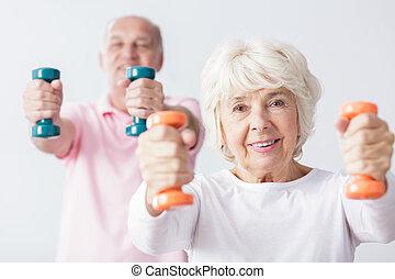 Sporty elderly woman