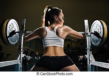 sporty, excitado, mulher, em, ginásio