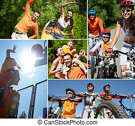 Sporty family - Collage of happy family at leisure in summer...