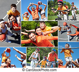 Sporty family - Collage of happy family at leisure in summer