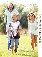 Sporty family of three