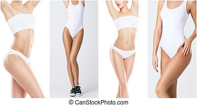 Sporty, fit and healthy female body in fitness collage. Young women in swimsuits isolated on white.