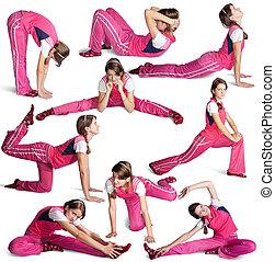 Sporty girl doing aerobics over white background - girl in...