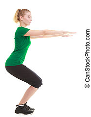 sporty girl doing exercise isolated